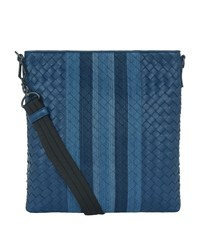 Bottega Veneta Bora Intrecciato Messenger Bag Unisex Blue