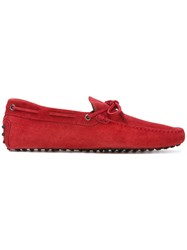 Tod's Classic Boat Shoes Men Leather Suede Rubber 9 Red