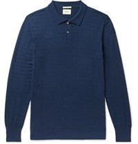 Bellerose Striped Cotton Blend Polo Shirt Indigo
