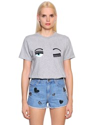 Chiara Ferragni Flirting Embroidered Cotton T Shirt