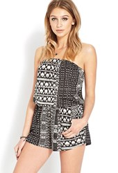 Forever 21 Abstract Tribal Print Romper Taupe Black