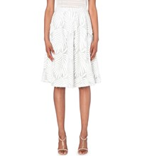 Reiss Hex Leaf Embroidered Midi Skirt Off White Pista