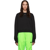 Off White Black Cropped Shifted Sweatshirt