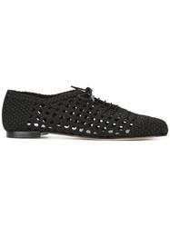 Repetto Crochet Lace Up Shoes Black