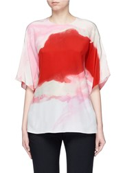 Ms Min Oversized Watercolour Print Silk Crepe Blouse Multi Colour