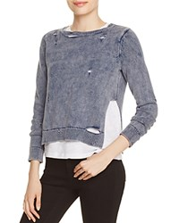 Generation Love Layered Look Distressed Sweatshirt Blue Indigo