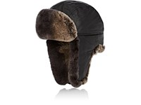 Crown Cap Fur Trimmed Leather Aviator Hat Black