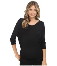 Heather Long Sleeve Rib Shirt Tail Tee Black Women's Long Sleeve Pullover