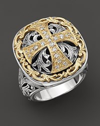Konstantino Sterling Silver And 18K Gold Diamond Maltese Cross Ring No Color