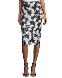 Nicole Miller Front Slit Printed Pencil Skirt Black White