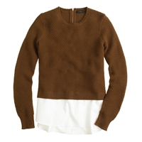 J.Crew Lambswool Shirttail Sweater In White Roasted Acorn