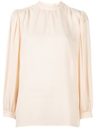 Christopher Kane Pleated Long Sleeve Blouse Pink And Purple