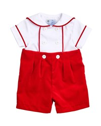 Florence Eiseman Two Tone Twill Shirt W Shorts Size 3 18 Months Red