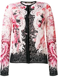 Roberto Cavalli Lace Fitted Jacket Pink Purple