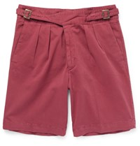 Rubinacci Manny Washed Stretch Cotton Bermuda Shorts Red