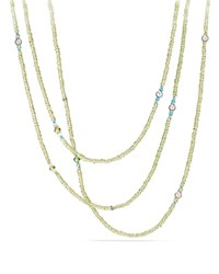 David Yurman Mustique Beaded Necklace With Peridot Dyed Gray Cultured Freshwater Pearl And Mint Chrysoprase With 18K Gold Green Blue