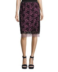 Marc Jacobs Flocked Floral Lace Straight Skirt With Scallop Hem Hot Pink