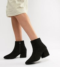 Raid Wide Fit Black Heeled Ankle Boots Black Suede