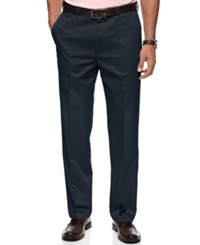 Haggar Pants No Iron Cotton Classic Fit Flat Front Navy