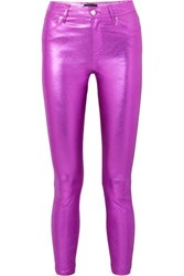 Rta Madrid Metallic Textured Leather Slim Leg Pants Magenta