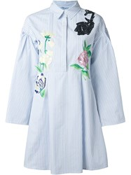Blumarine Bell Sleeve Shirt Dress Blue