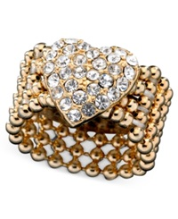 Guess Ring Gold Tone Crystal Accent Heart Stretch