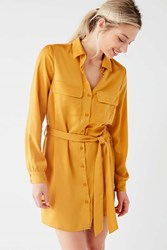 Urban Outfitters Uo Button Down Satin Shirt Dress Gold