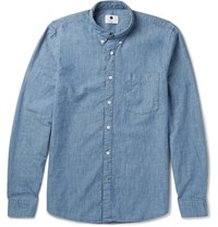 Nn.07 Nn07 Slim Fit Button Down Collar Cotton Chambray Shirt Blue