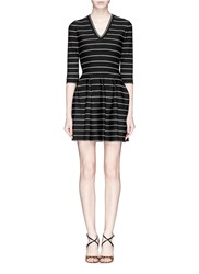 Azzedine Alaia 'Frizzante' Dot Stripe Flare Dress Black