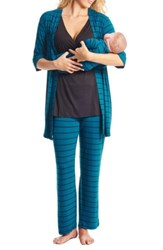 Everly Grey Roxanne During And After 5 Piece Maternity Sleepwear Set Teal Stripe