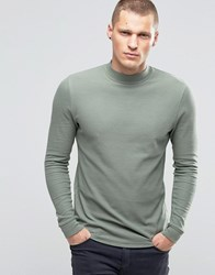 Asos Waffle Longline Muscle Long Sleeve T Shirt With Turtle Neck In Green Green