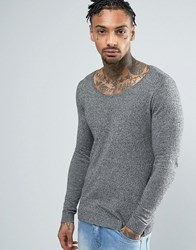 Asos Extreme Muscle Fit Scoop Neck Jumper Black White Twist Grey