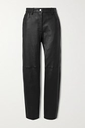 Joseph Cindy Paneled Leather Straight Leg Pants Black