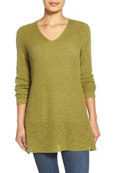 Women's Eileen Fisher V Neck Organic Linen And Cotton Tunic Moss