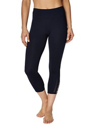 Betsey Johnson Cropped Mesh Vented Leggings Wavy Navy