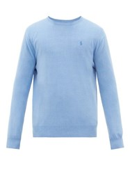 Polo Ralph Lauren Logo Embroidered Cashmere Sweater Blue