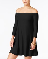 Planet Gold Juniors' Off The Shoulder Swing Dress Black