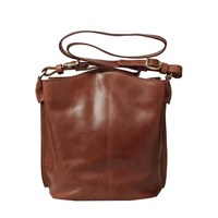 Maxwell Scott Bags Luxury Italian Leather Women's Tote Bucket Bag Palermo Chestnut Tan Brown