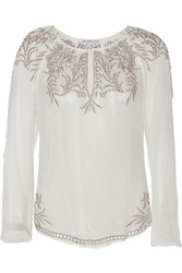 Chelsea Flower Luana Embroidered Crepe Top White