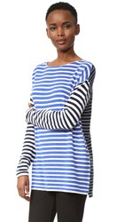 Jenni Kayne Cashmere Striped Sweater White Blue