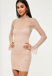 Missguided Nude Mesh Flared Sleeve Bodycon Dress