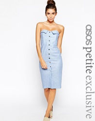 Asos Petite Bandeau Pencil Dress In Chambray Linen With Button Front Blue