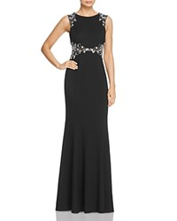 Decode 1.8 Floral Embellished Mesh Inset Gown Black White