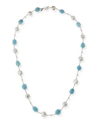 Margo Morrison Long Aquamarine Pearl And Crystal Station Necklace