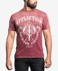 Affliction Men's Graphic Print T Shirt Burgundy