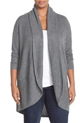 Plus Size Women's Sejour Ribbed Knit Oval Cardigan