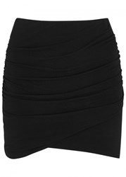 James Perse Black Ruched Jersey Mini Skirt