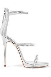 Giuseppe Zanotti Crystal Embellished Metallic Leather Sandals Silver
