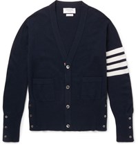 Thom Browne Slim Fit Striped Cashmere Cardigan Blue