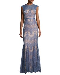 Catherine Deane Cap Sleeve Lace Trumpet Gown Blue